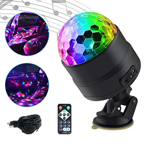 Maso Lampe DJ atmosphère d'intérieur de voiture, boule disco éclairage stroboscopique, fonction sonore active avec télécommande sans fil sur allume-cigare, pour camping, fête
