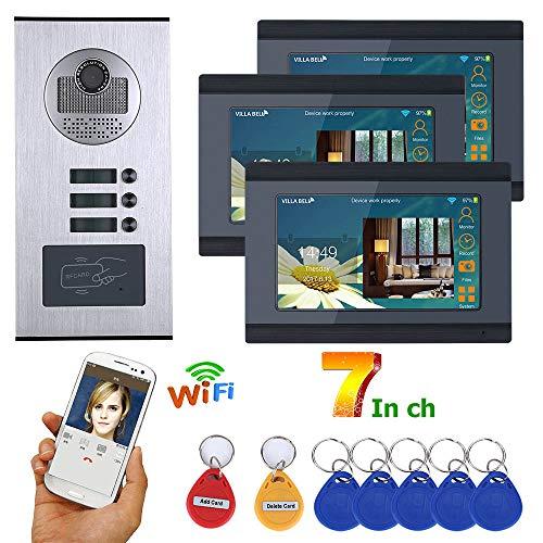 Wifi Video Türklingel, 3 Wohnungen/Familie wasserdichte 7-Zoll-Video-Türsprechanlage Gegensprechanlagen, 3 Monitor + RFID IR-CUT HD 1000TVL-Kamera mit 3 Tasten