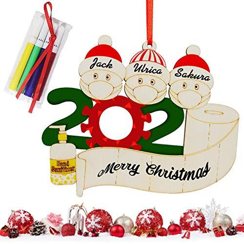 2020 Adorno de Navidad con nombre personalizado, colgante de manualidades de madera, decoración de árbol familiar de supervivientes de cuarentena, regalos creativos de Navidad, familia de 3