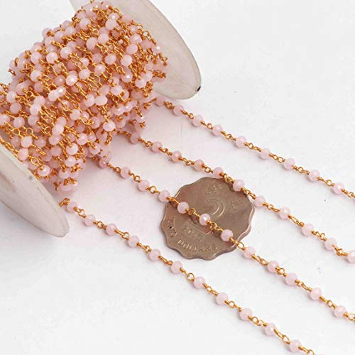 Shree_Narayani Rosario rosa rosa de 5 pies de calcedonia perlas de rosario cadena Rondelle facetado alambre envuelto en oro estilo rosarios cadena de cuentas colgante racimo angoori Strand