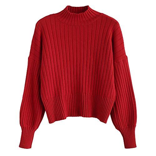 ZAFUL Damen Locker Rollkragenpullover Langarm Sweater Pulli Lose Bluse Pullover Tops(Rot)