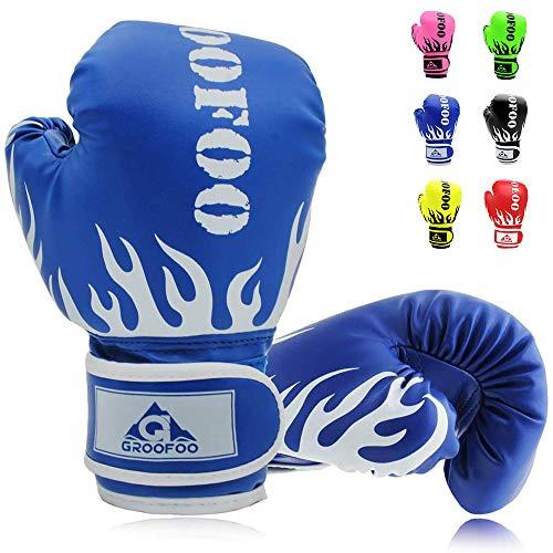 Kids Boxing Gloves 4oz Punching Gloves for Kids 3-6 Traning Gloves for Punching Bag Kickboxing Sparring Muay Thai MMA Fight Gloves - Blue