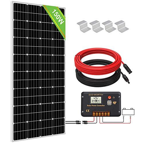 ECO-WORTHY 150W Kit Pannello Solare Monocristallino Off Grid con Regolatore di Carica LCD + Cavi + Staffe di Montaggio per Barche Capanno Campeggio