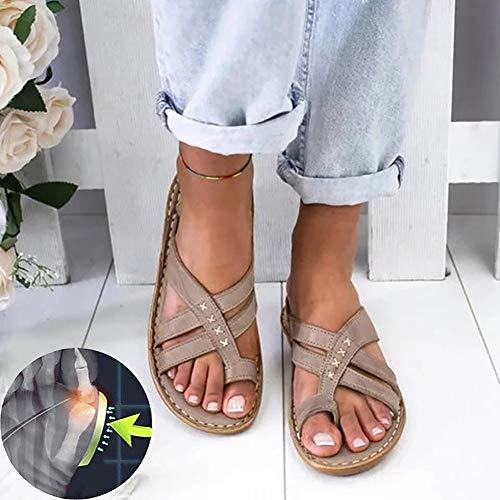 XXZ Sandalias Correctoras Juanetes Chanclas Mujer Sandalias Plataformas Verano Cuña Piel Plana Punta Abierta Tacon Zapato de Playa Piscina Cómodo Moda,4graybrown,40