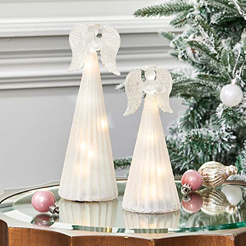 Christian Angel Figurines with Lights - Set of 2 Statues, Frosted Glass, Silver Glitter, 6 Inch & 8 Inch Tall, LED Fairy Lights Inside, Batteries Included, Easter Table Centerpiece Mantle Decorations