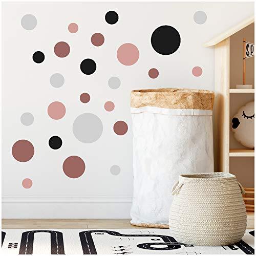 yabaduu 100 Klebepunkte Kreise Punkte Wandtattoo Kinderzimmer Schlafzimmer Babyzimmer Aufkleber Folie Deko Selbstklebend für Junge Mädchen Pastell (Y035-1 Altrosa-Grau-Rosa)