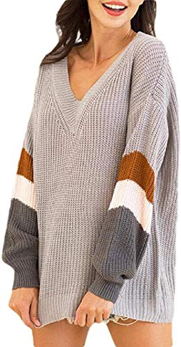 Womens V Neck Long Lantern Sleeve Sweater Color Block Chunky Pullover Oversized Jumper Sweater sweater dress (Color : Grey, Size : Large)