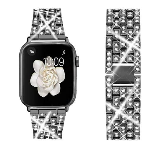 Correas de reloj inteligente compatibles con Apple Watch Band 38 mm 40 mm 42 mm 44 mm Reemplazo de correa de pulsera Metal Diamante de imitación Negro para Apple Watch SE, Serie 6/5/4/3/2/1 (42/44mm)