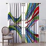 99% cortinas opacas abstractas onda ombre para dormitorio jardín de infancia sala de estar W96 x L96 pulgadas