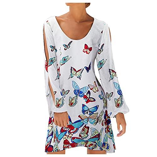 Damen Kleider Strand Elegant Casual A-Linie Kleid Langarm Sommerkleider Blumenmuster Rundhals Tunika Mini Kleider Abend Brautkleid Cocktail...