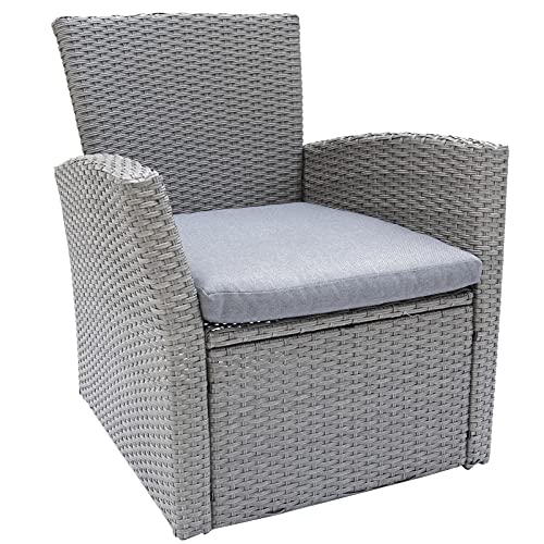 C-Hopetree Outdoor Single Sofa Chair for Outside Patio or Garden, All Weather Wicker with Cushion, Grey
