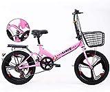 YIHGJJYP Bicicleta De Montaña Las Bicicletas Plegables 20' Suspensión Variable Speed Bicicletas Ligera Antideslizante para Hombres y Mujeres con el Bastidor Trasero Soporte Carga,Set-1