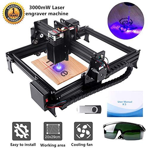 Titoe Upgrade 3000mw Laser Engraver CNC Engraving Machine Mini DIY Desktop Engraver Router Wood Printer Supporting Computer/Offline/Bluetooth Control for Handicraft Working Area :200mm x290mm