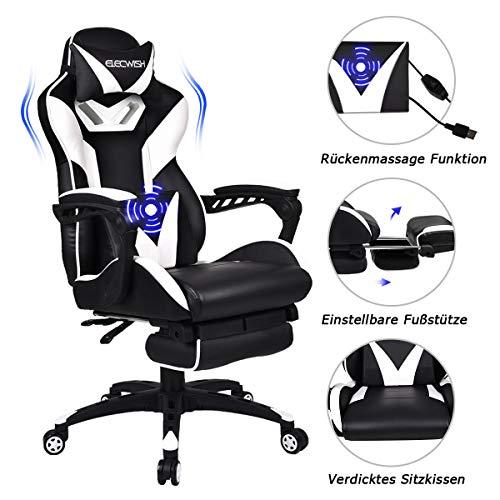 YU YUSING Massage Racing Gaming Stuhl Bürostuhl - Ergonomisches Sportsitz höhenverstellbarer Computerstuhl Chefsessel Schreibtischstuhl mit Kopfstützen, verstellbaren Armlehnen und Fußstützen (weiß)