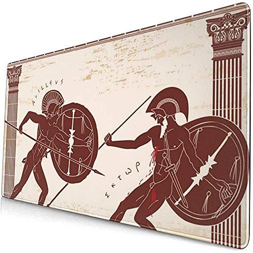 Twee oude Griekse krijger uitgebreide gaming muis pad, dikke grote computer toetsenbord muismat