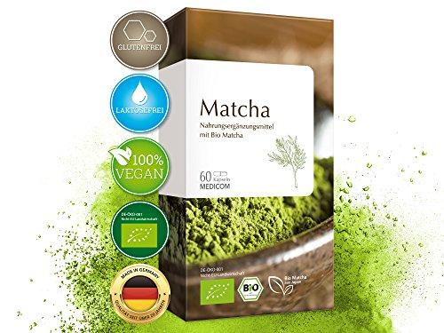 MEDICOM BIO Matcha 60 Kapseln hochdosiert • Vegan & Bio zertifiziert • 600 mg Matcha Extrakt Pulver pro Tagesdosis • Superfood aus grünem Tee • 1-Monatsvorrat