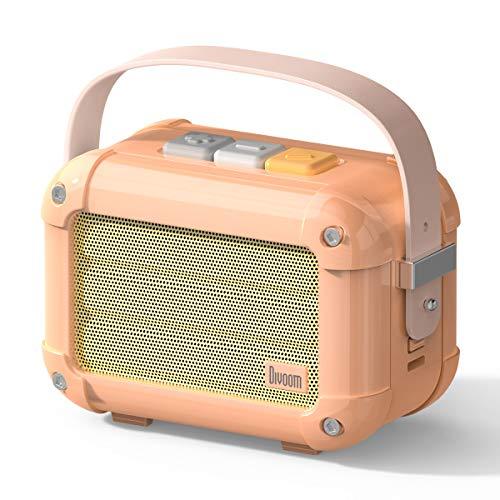 Bluetooth Lautsprecher Musikbox, Divoom Macchiato Tragbarer Lautsprecher mit Mikrofon und Stereo Sound, Bluetooth 5.0, 6W Output mit FM Radio, Kompatibel mit IOS und Android (Pink)