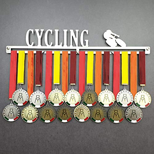 Cycling - Medagliere da Parete - Porta medaglie Ciclismo, MTB, Ciclocross - Sport Medal Hanger - Display Rack (450 mm x 80 mm x 3 mm)