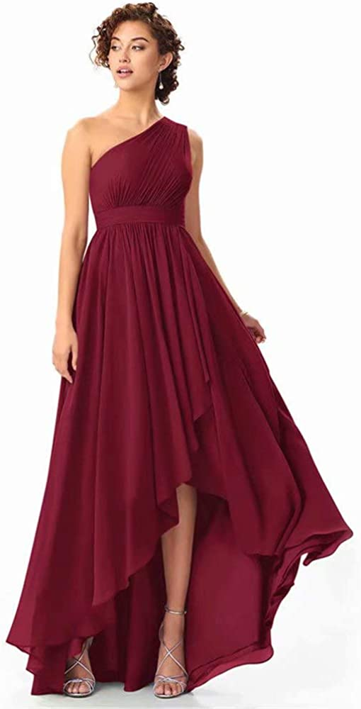 dongprom Women's One Max SALENEW very popular! 69% OFF Shoulder High Low Long L Bridesmaid A Dress