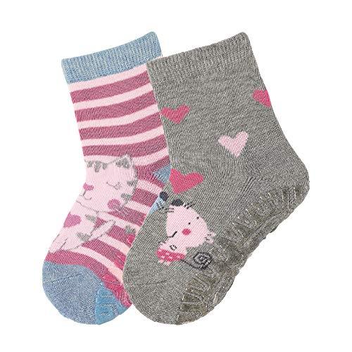 Sterntaler Mädchen FLI AIR DP Katze/Mäuse  Socken (2 Paar), Violett (Helllila 650), 17-18