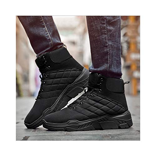 HaoLin Botas De Nieve De Montañismo Zapatillas De Deporte Calientes Zapatos De Trabajo De Felpa Calzado Botines,Black-41