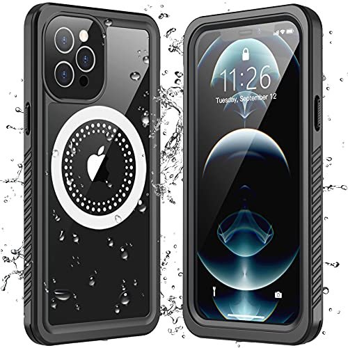 Redpepper Compatible with iPhone 12 Pro Case Waterproof, Built-in Screen Protector Support Magnetic Wireless Charging Heavy Duty Shockproof Dustproof Case for iPhone 12 Pro 6.1 inch (Black/Clear)