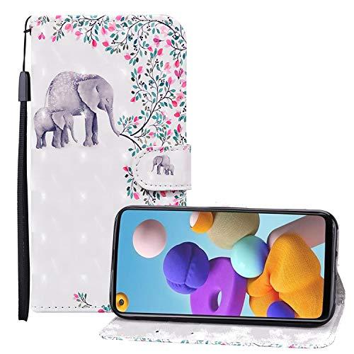 Nadoli 3D Effekt Brieftasche für Samsung Galaxy A30S,Niedlich Elefant Blumen Muster Pu Leder Magnetverschluss Kartenfächer Flip Tasche Schutzhülle mit Standfunktion