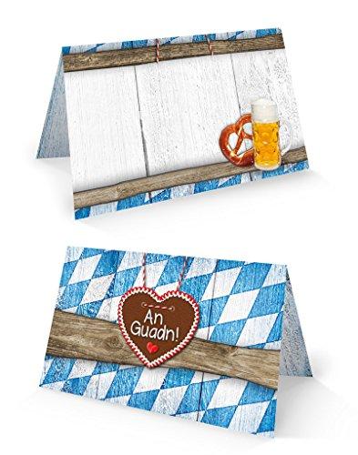 25 kleine blau weiß karierte bayerische Holz-Optik Tischkarten Namens-Schilder Sitzkarten Platzkarten zum Oktoberfest Bayern Geburtstags-Fest Namens-Kärtchen - MIT JEDEM STIFT beschreibbar!
