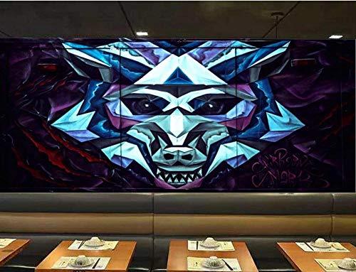 Mural de parede personalizado não tecido, papel de parede 3D, abstrato, estéreo, cabeça de lobo, murais para decoração de parede para sala de estar, quarto e TV, design de fundo de casa, 430 cm x 300 cm