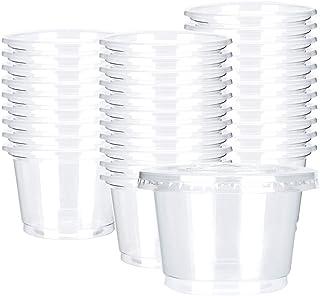 أكواب بلاستيكية أحادية الاستخدام للمشروبات الساخنة والباردة من أوتور بسعة 236 مل مع أغطية مسطحة - 50 مجموعة - أكواب آيس كر...