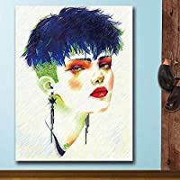 Canvas Painting Abstract Art Girl In Fashion Wall Art Canvas Painting For Living Room Home Decor Painting Wall Picture-20x40cm Frameless
