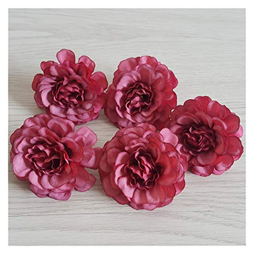 CQHUI 10 Pcs 5cm Artificial Silk Peony Rose Flower Head For DIY Flower Wall Gift Box Scrapbooking Wedding Home Party Decoration (Color : Burgundy)