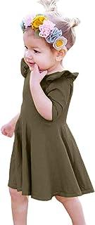 ワンピース 子供服 女の子 おしゃれ かわいい プリンセスドレス 五分袖 無地 お出かけ 通園 パーティー 記念撮影用 娘の日 プレゼント 誕生日 ギフト