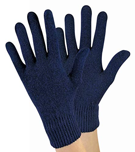 Sock Snob - Ladies/Womens Knitted Winter Warm Magic Thermal Wool Gloves for Cold Weather (One Size, Navy)