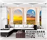 Fotomurali 3D Papel tapiz fotográfico 3D murales 3D personalizados papel tapiz mural Paisaje pastoral Girasoles flores arco Jane Fondo europeo papel de pared
