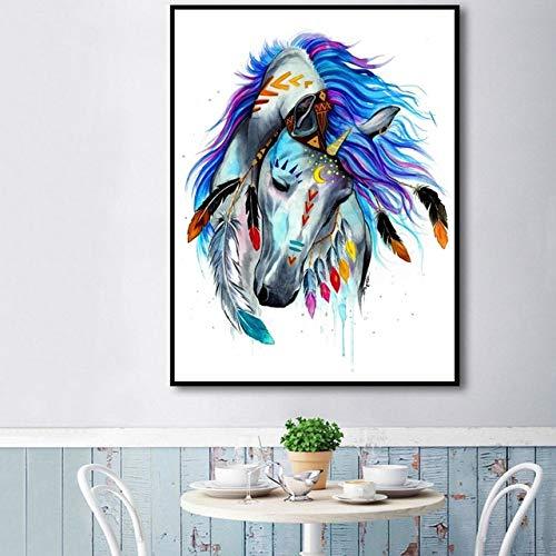 vhidfsjgdsfik (No Frame) 60x90cm Abstracto Acuarela Espíritu Unicornio Arte Lienzo Cartel Abstracto póster Cuadros de Pared para Sala de Estar