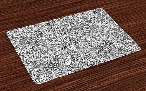 ABAKUHAUS oosters Placemat Set van 4, Monochorme Pattern, Wasbare Stoffen Placemat voor Eettafel, Wit en zwart