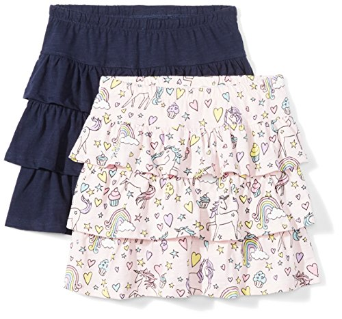 Amazon Brand - Spotted Zebra Toddler Girls Knit Ruffle Scooter Skirts, 2-Pack Unicorn/Navy, 2T
