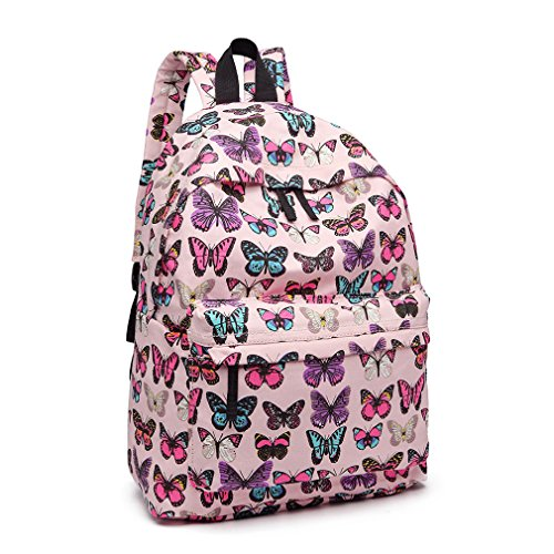 Kono Girls Casual Daypack School Bag Backpacks for Children Students Teenagers Butterfly Printed Bookbag Women Canvas Travel Rucksack (Pink)