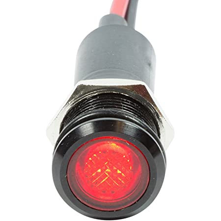 Green 20Pack 8mm 12V//24V Red LED Panel Metal Indicator Light Dash Red