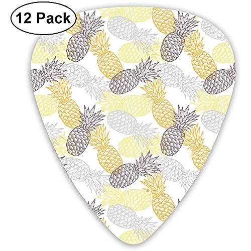 Gitaar Picks 12-Pack, Zachte Toned Exotische Ananas Figuren Tropische Dieet Voedsel Artistieke Illustratie