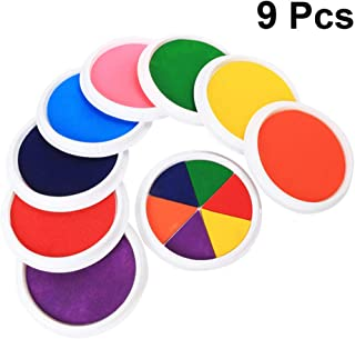 HEALLILY 9pcs Large Craft Ink Pad Colorful Washable Finger Palm Footprint Ink Stamps for Partner DIY Infant Newborn Baby Registry Shower Gift Keepsakes