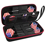 ALKOO Dart Case Holder Bag for 6 pcs Steel and Soft Tip Darts Set, Storage Organizer Holds 6 Darts and Tips, Shafts and Flights Accessories (Cases Only)- Black