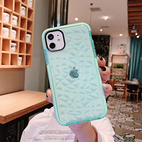 SUBESKING iPhone Xs Max Case Cute,Crystal Clear Soft TPU 3D Diamond Pattern Design Fashion Cool Luxury Slim Fit Hybrid Shockproof Protective Bumper Phone Cases for Women Girls 6.5 inch(Green)