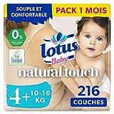 Lotus Baby Natural Touch - Couches Taille 4+ (10-16 kg) - lot de 6 paquets de 36 couches (216 Couches au total)