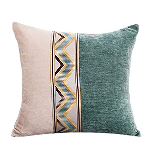 YanLin Pillow Decorative,Cashmere Fabric,PP Cotton Inner Core,Metal Zipper,Two-Color Stitching Design,The Square Cushion Is Suitable for Any Environment,(1 Piece),Green,45×45cm