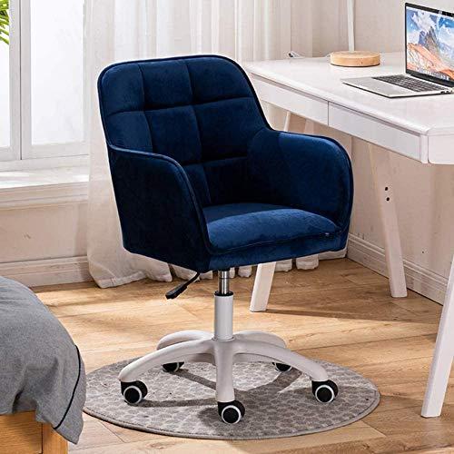 ykw Silla de sofá, sillón Giratorio Moderno de Terciopelo Ajustable (42Cm-52Cm), con pies pentagonales Blancos