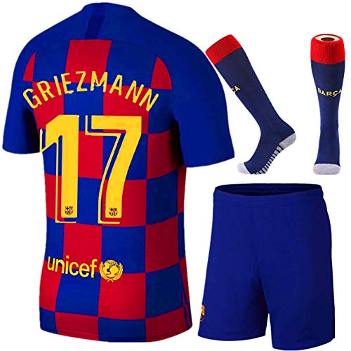 JHGVBN New 17 Griezmann 19-20 Kids Home Jerseys Size 28 Blue/Red
