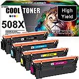 Cool Toner Cartuccia toner Compatibile In sostituzione di 508X CF360X CF361X CF362X CF363X Color Laserjet Enterprise M552dn M553dn M553n M553x MFP M577 (Nero,Ciano,Giallo,Magenta,confezione da 4)