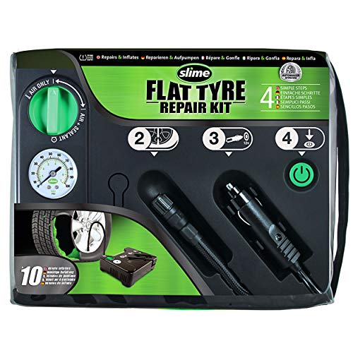 Slime 50129 Flat Tyre Puncture Repair, Emergency Kit, Includes Sealant and Tyre Inflator Pump, Suitable for Cars and Other Highway Vehicles, 10 Min Fix
